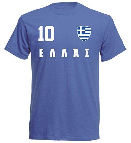 aprom Griechenland Kinder T-Shirt Trikot ALL-10 Blau - WM 2018 Fußball (116)