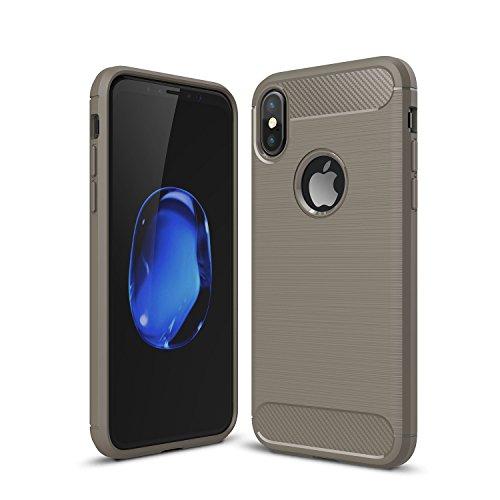 iPhone X Hülle TPU Case, AVIDET Ultra Slim TPU Case für iPhone X Schutzhülle (Rot) Grau