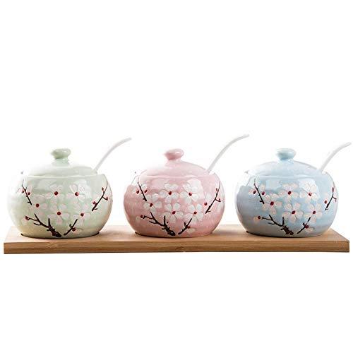 Hizljj set di vasi di spezie motivo floreale albero di ceramica, vasi da condimento con cucchiai, vaschetta per condimenti vassoio vaso di condimento in ceramica condimento per la casa condimento insc