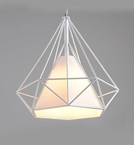 Miaoge Fer lustre LED pyramide cage minimaliste créatif chambre seule tête lampe lustre lampe américaine lustre 380mm