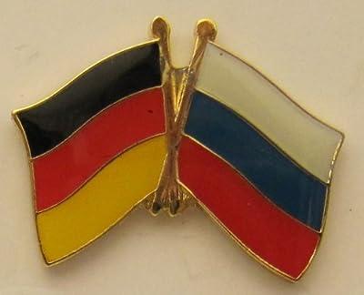 Russland / Deutschland Freundschafts Pin Anstecker Flagge Fahne Nationalflagge Doppelpin Flaggenpin Badge Button Flaggen Clip Anstecknadel