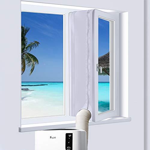 PiAEK 400cm Universal-Fensterdichtung für mobile Klimaanlagen, tragbare Wäschetrockner, verbesserte Fenster mit Klettbanddichtung von Hot Air - Einfache Installation