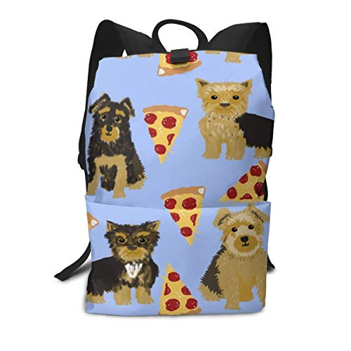 Backpack Yorkie Pizza Yorkshire Terriers Funny Cute Dog Novelty Food Print for Best Dog Laptop Backpack Student School Bookbag Casual Durable Rucksack Travel Daypack - Food Yorkie Dog
