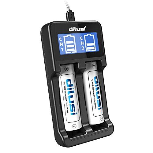Galleria fotografica Dilusi Caricabatterie intelligente per batterie agli ioni di litio e NiMH +Batteria Ricaricabile 18650 Li-Ion 3,7V 3000mAh(2 Batterie)