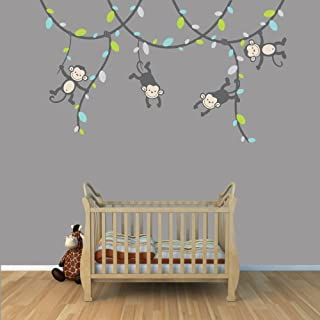 Gray and Green Monkey Wall Decal for Baby Nursery or Kid's Room, Monkey Vine Sticker by Nursery Decals and More