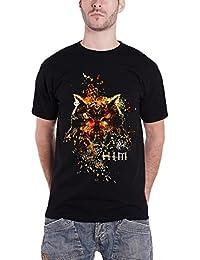 HIM T Shirt Owl Splattered Colors Distressed Band Logo offiziell Herren Nue