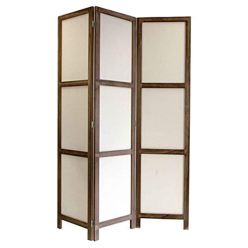 *NEG Paravent Rigel (braun) Raumteiler/Sichtschutz aus Echt-Holz und Baumwolle (spanische Wand)*