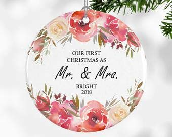 Tiukiu Wedding Gift Ideas for Bride, First Christmas Ornament Mr and Mrs, Modern Floral Christmas Ornament, Wedding Gift, Our First Married Gift Floral Dome