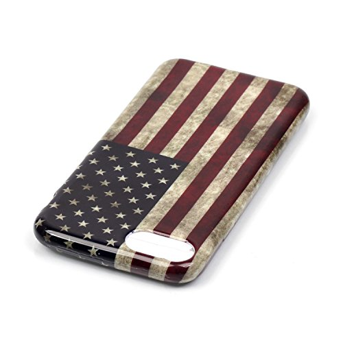 iPhone 7 Hülle,iPhone 7 Silikon Case,iPhone 7 Cover - Felfy Ultra Dünne Weicher Slim Gel Flexible Soft TPU Silikon Hülle Schutzhülle Silikon Hülle Blumen Muster Farbmalerei Beschützer Hülle Handy Durc Amerikanische Flagge