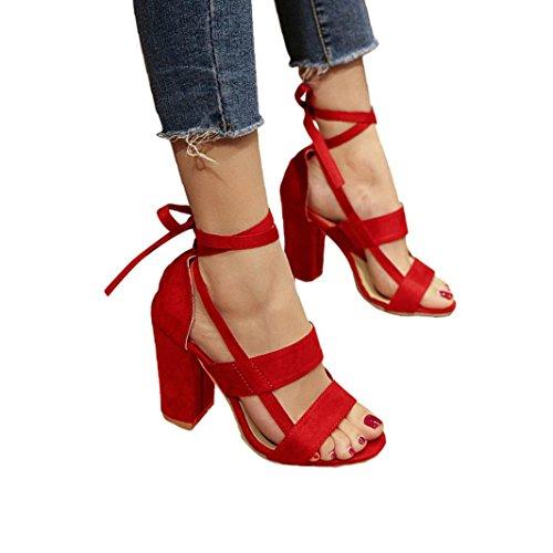 Hot Sale!Sandalen Damen, Sonnena Frauen Mode Sandalen Knöchel High Heels Block Party Offene Zehen Schuhe Solid/Square Heel/Knöchelriemen/Knöchel/Super Hoch/Gummi (Sexy Rot, 37) -