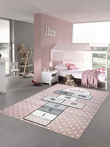 Merinos Kinderteppich Hüpfspiel Teppich Hüpfkästchen in Rosa Grau Creme Größe 80x150 cm -