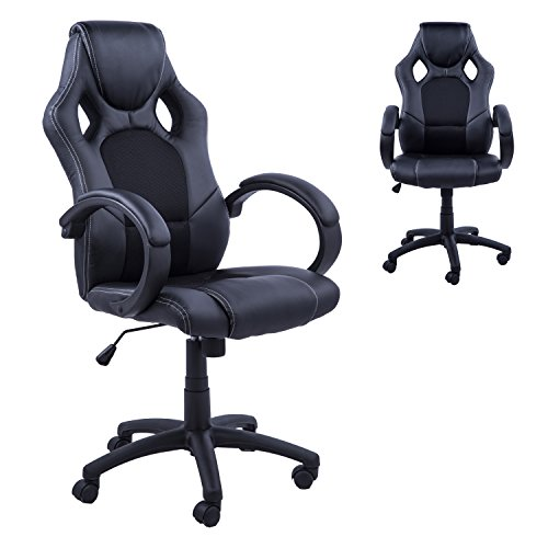Homcom RacingChair Gaming Sports Swivel Desk Chair Executive Leather Office  Chair Computer PC Chairs Height Adjustable Armchair (Black)