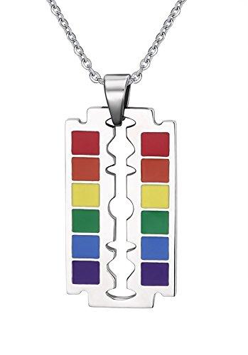 Vnox LGBT Homosexuell Lesben Edelstahl Klinge Form Regenbogen Stolz Halskette Anhänger mit Freikette