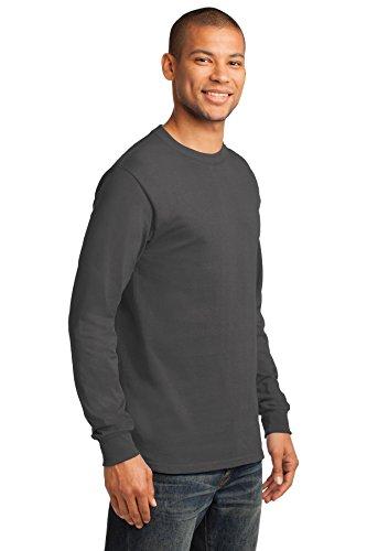Port & Company Herren ist groß lang Sleeve Essential T Shirt Dunkelgrau