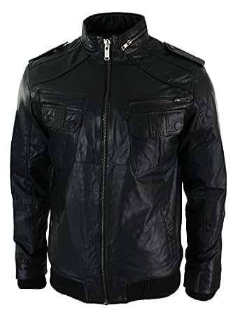 Mens All Leather Urban Retro Bomber Jacket Pocket Black Washed