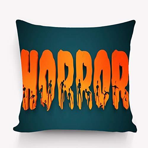 zexuandiy Kissenbezüge Madagascar Throw Pillow Case Cushion Cover Fashion Home Decorative Pillowcase Gift 18x18 Twin Sides Horror Word Silhouettes Them Halloween Theme backg