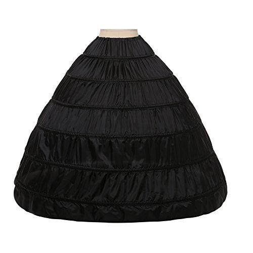 Noriviiq Enagua Boda 6 Aros Mujer Largas Crinoline Petticoat Boda Accesorios para Cancan Vestido Novia (Negro)