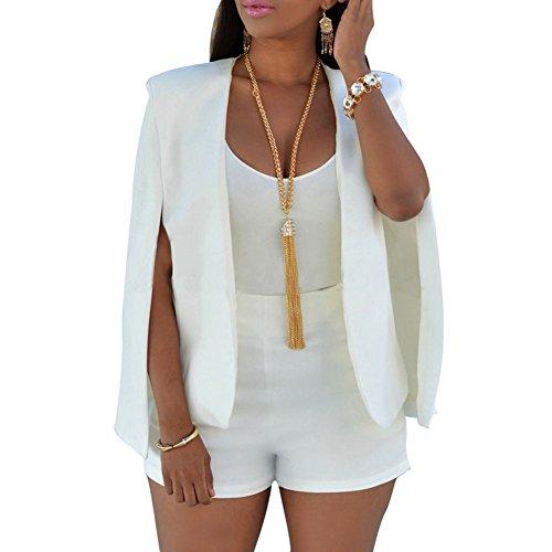 Juleya Frauen Herbst Poncho Cape - Damen Open Front Cloak Jacke Mantel Gilet Cardigan Plus Größe Weste Top Weiß/M