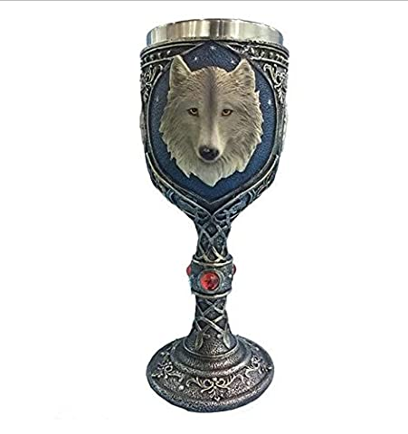 Ouvin 11-14oz Wolf Wine Goblet with Stainless Steel 3D Ossuary Style Drinking Cup Mug (Wolf)