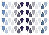 dekodino Pegatina de pared gotas de pastel en azul y gris 56 piezas