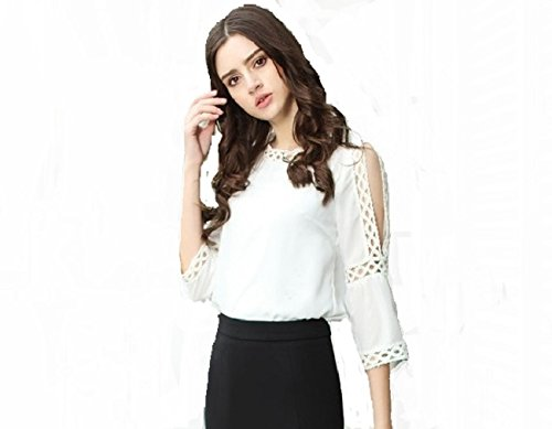 POISON IVY Women's White Rayon Blouse Round Neck Lace Cut Out 3/4 Sleeve Cold Shoulder Elegant Top