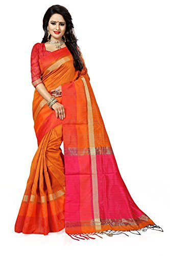 J B Fashion Women's Silk Saree With Blouse Piece (S-Bahubali-1_Orange)