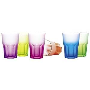 Luminarc new america techno colours hiBall glasses verres 400 ml, set of 6