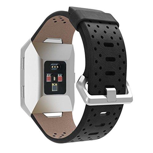 Upxiang Für Fitbit Ionic, Perforiertes Leder Uhrenarmband, Armband Uhrenarmband, Uhr Zubehör (Schwarz) - Sport 2.0 Perforiertes Leder
