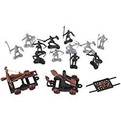 ZJL220 Caballeros Medievales Juguete Catapulta Ballesta Soldado Figuras Playset Carro