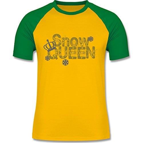 Après Ski - Snowqueen - zweifarbiges Baseballshirt für Männer Gelb/Grün