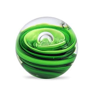 Art Deco Home - Briefbeschwerer Glaskugel WIRBEL grün, 9 cm - 12425SG