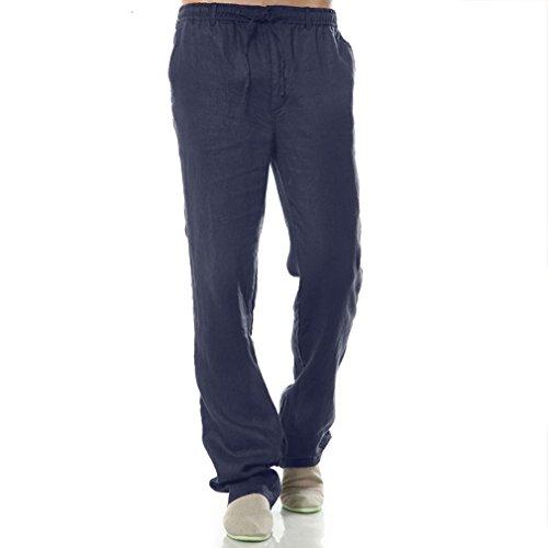 Najia Symbol Hombre Pantalones De 100% Lino Estilo Libre Ocio Cordón de la Cintura (Azul Marino, M)