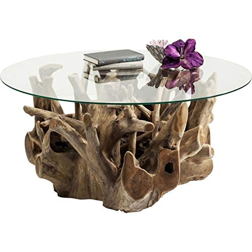 Kare Design - Table Basse Plateau Rond Pied Bois flotté Roots