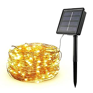 Diswoe Solar Powered Lights String 200 LEDs/20M/8 Modes Outdoor Copper String Wire Lights Water-Resistant IP65 Warm White for Garden Party
