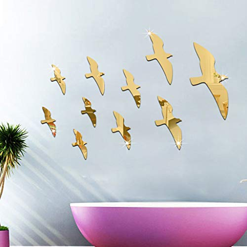 (LIGEsayTOY Acryl 3D Seagull Vogel Kombination Spiegeleffekt Wandaufkleber Aufkleber Zuhause Deko Decor Prinzessin Patrol familienregeln büro Hochzeit Blumenranke wimper bibi Rezept Halloween)