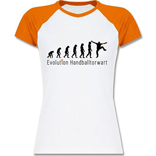 Shirtracer Evolution - Handballtorwart Evolution - Zweifarbiges Baseballshirt/Raglan T-Shirt für Damen Weiß/Orange