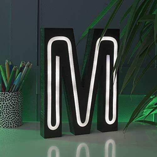 Festive Lights Letras Luminosas con Efecto de neón Que Funcionan con Pilas, 16 cm, para Colgar en la Pared, iluminación Decorativa (M), Color Negro