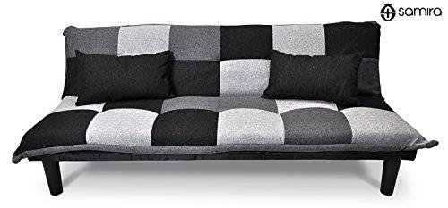 Divano letto in tessuto grigio scuro - nero - grigio chiaro - divanetto 3 posti mod. russell