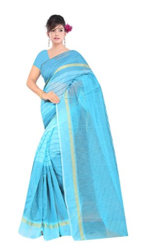 Onlinehub Women's Cotton Saree With Blouse Piece (Onlinehubskybluecotton(G)_Skyblue)