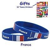 Toymio Silikon Armband Russland World Cup Fußball Fans Armband für Sportveranstaltungen Olympiade und Nationale Events,2 Stück (Frankreich)