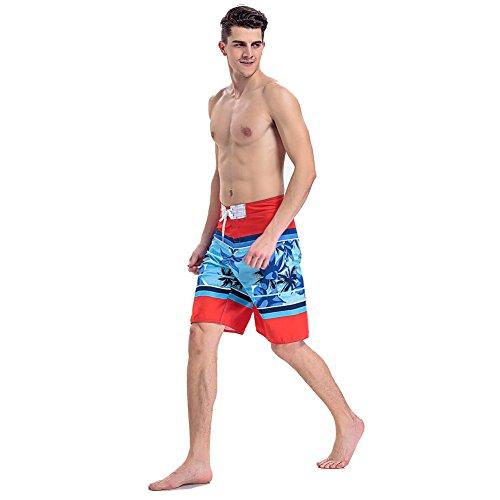 Herren ¡fördern S kurz, Sport im Freien Kleidung, Wasser Sport Bademoden, Badehose, Hawaii Shorts Clothin - Blue+Red