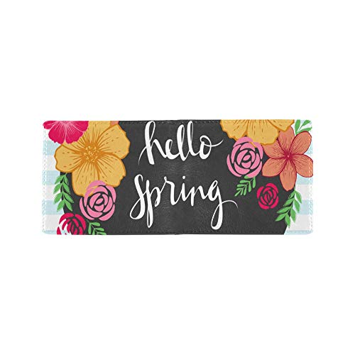 Hello Spring Welcoming Cool Lether Business Card Coin Id Pouches Holder Travel Clutch Purse Money Clip Bifold Wallet Case for Girls Men and Women Front Pocket Checkbook (Photo Frame Passport)