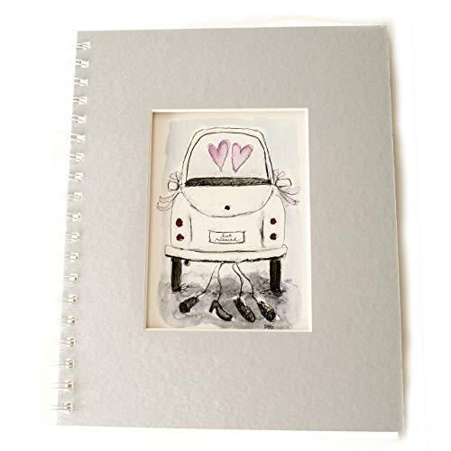 k. A. Hochzeitsalbum Gästebuch Scrapbooking Album Fotoalbum Vintage (Hochzeitsauto/Grauer Umschlag)