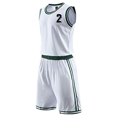 BEHSU Basketball Swingman Jersey Basketballuniform Set Sport Running Game Tops Atmungsaktive Weste Erwachsene Ärmellos Männer-White-L