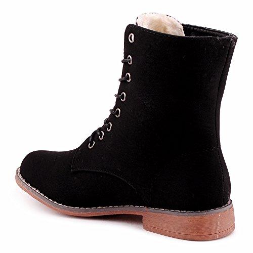 Damen Stiefeletten Blockabsatz Stiefel Warm Gefüttert Schnür Biker Boots Schuhe Schwarz