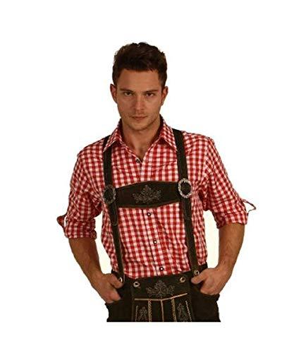 Fuchs Trachtenhemd kariert mit Krempelärmeln für Herren (L, rot)