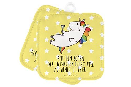 Mr. & Mrs. Panda Ofenhandschuh, Küche, 2er Set Topflappen Einhorn Cocktail mit Spruch - Farbe Gelb...