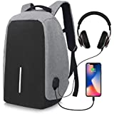 HOME CUBE® Laptop Backpack With USB Charging Port Headphone Port Fit 15.6/15/14 Inch Laptop Anti Theft Backpack Lightweight College Students Book Bag Water Resistant Computer Work Bag - Grey Color