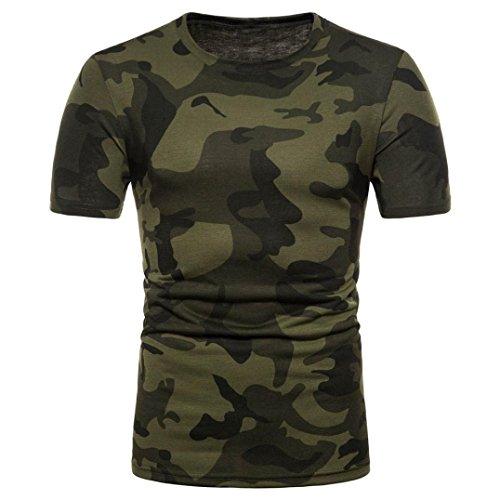 OHQ Camisa De Polo Camiseta Estampada De Manga Corta con Estampado De Camuflaje Personalizado para Hombre Camiseta De Manga Corta Casual Blusa Superior Tops Chaleco Cómodo y Elegante (S, Verde)