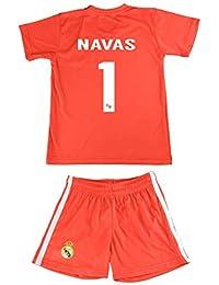 f38040833c51a Real Madrid Conjunto Camiseta y Pantalón Equipación Navas Color Rojo  Réplica Oficial Licenciado Dorsal 1 (